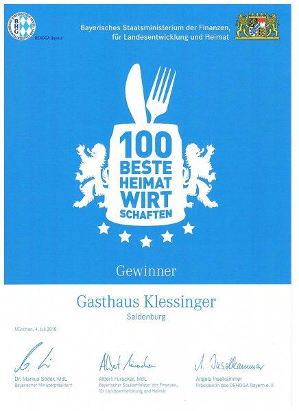 100 beste Heimatwirtschaften - Gewinner Gashaus Klessinger