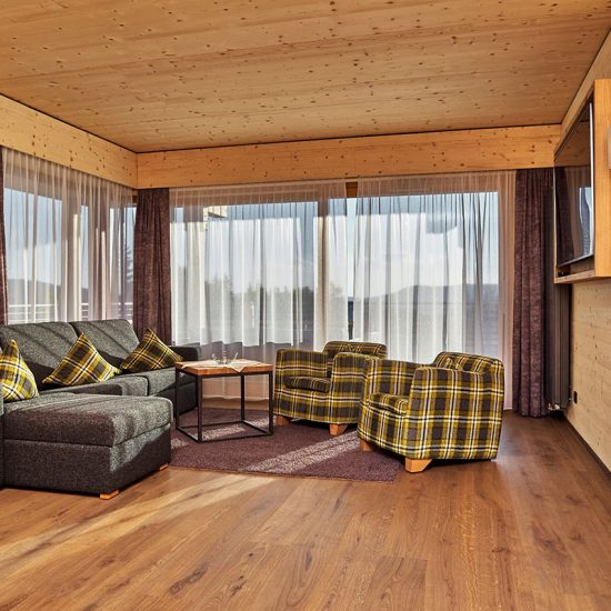 Hoteleinrichtung - Wohnbereich im Hotelzimmer Hotel Riedlberg | Waldbauer