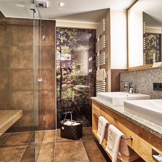 Badezimmer im Hotel Riedlberg